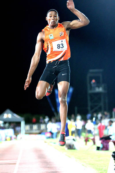 Varsity Sports Athletics on 7 April 2016, Coetzenburg Stadium, Stellenbosch. Photo: Thys Lombard     Mens Long Jump Ruswahl Samaai (83) UJ