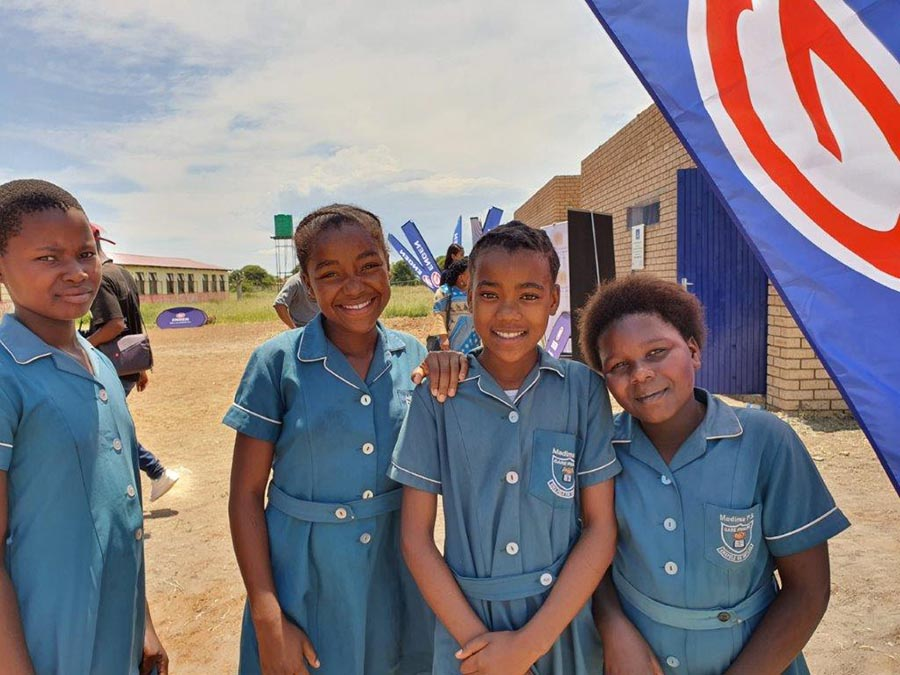 Learners at Madima Primary School Saulspoort are delighted with their new facilities - Engen pledges the first R2.5m to help eradicate pit latrines at schools