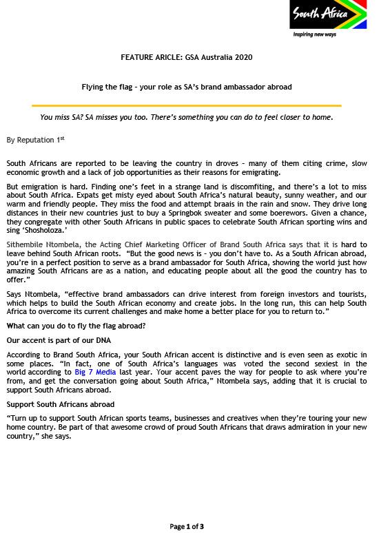 sa good news Flying the flag – your role as SA's brand ambassador abroad.doc 1 - Flying the Flag!