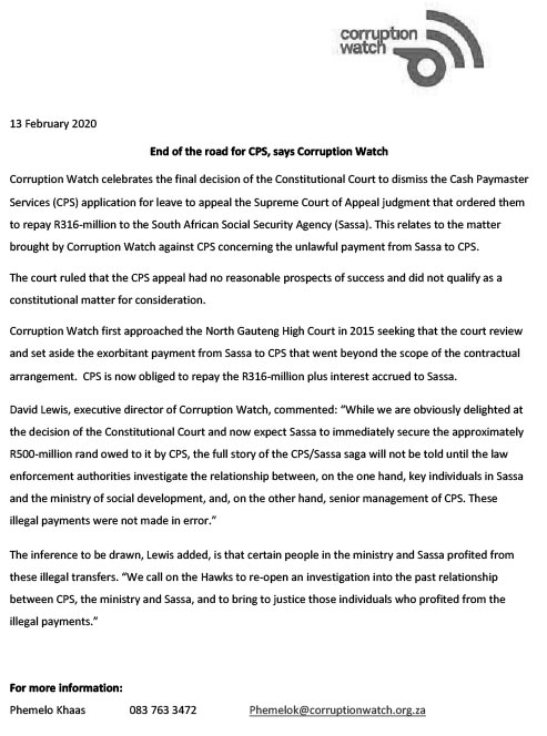 sa good news brandsa Statement CPS End of road 13Feb2020  - End of the road for Cash Paymaster Services, says Corruption Watch
